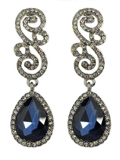 Blue Rhinestone Women Earrings