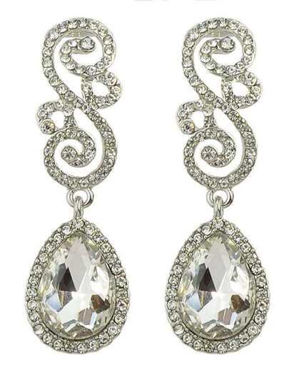 White Rhinestone Women Earrings