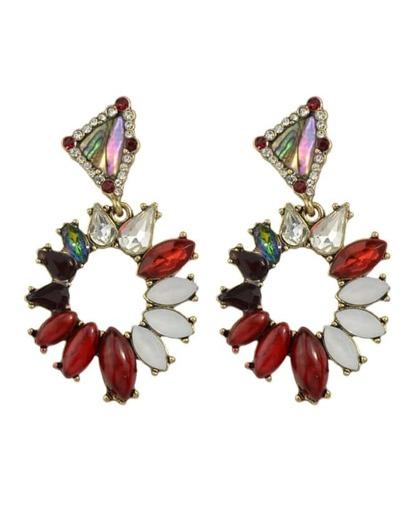 Red Rhinestone Hanging Stud Earrings