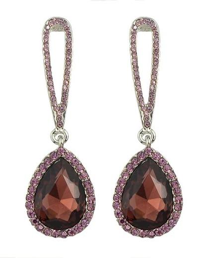 Winered Single Rhinestone Drop Earrings