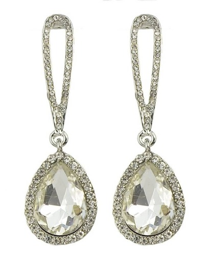 White Single Rhinestone Drop Earrings