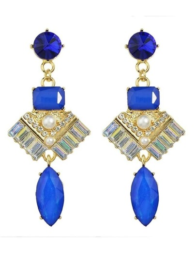 Blue Rhinestone Long Drop Earrings