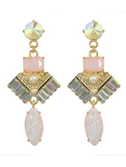 Pink Rhinestone Long Drop Earrings