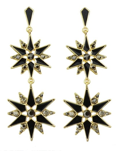Black Enamel Long Drop Earrings