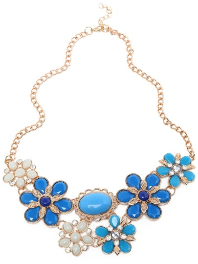 Blue Gemstone Flower Shaped Necklace