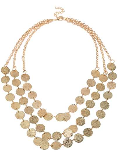 Gold Three Layers Round Necklace