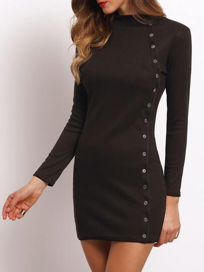 Black High Neck Buttons Bodycon Dress