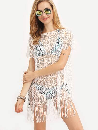 White Crochet Hollow Out Fringe Beach Dress