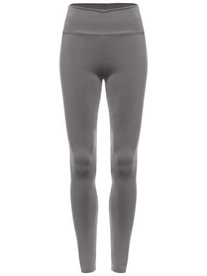 Grey Elastic Waist Slim Leggings