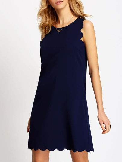 Royal Blue Scallop Tank Dress