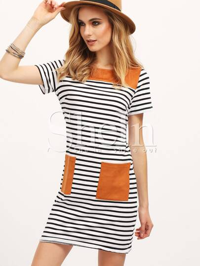 Black White Stripe Contrast Pockets Casual Dress