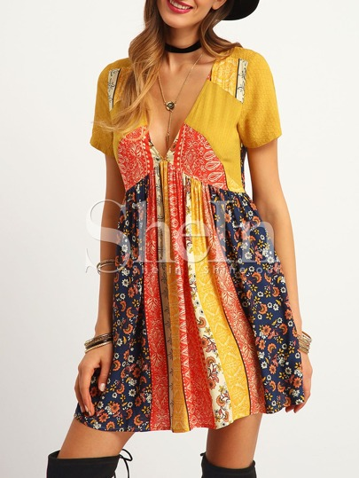 Multicolor Print Deep V Neck Short Sleeve Dress