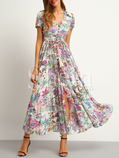 Multicolor Print Button Split Front Flare Maxi Dress
