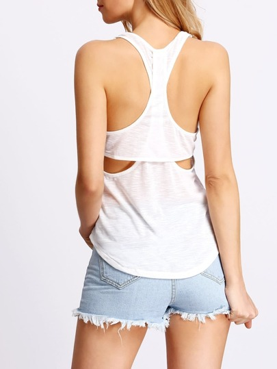 White Y-back Hollow Tank Top
