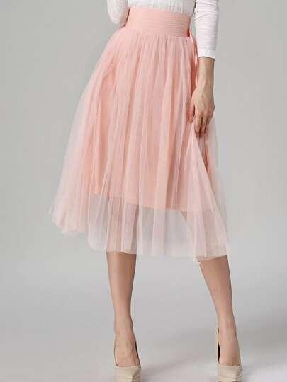 Pink Sheer Mesh Pleated Skirt