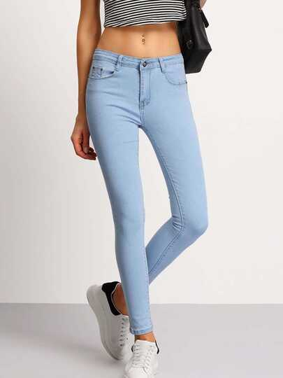 Light Blue Slim Pockets Denim Pant