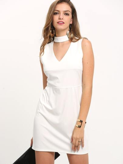 White Halter V Neck Slim Dress