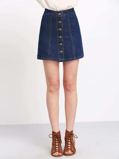 Gonna A-linea denim blu