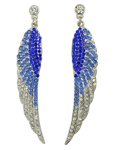 Darkblue Rhinestone Wing Shape Earrings