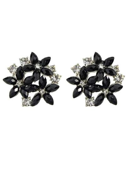 Black Rhinestone Flower Earrings