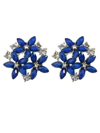 Blue Rhinestone Flower Earrings