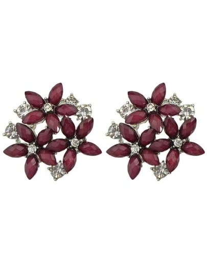 Red Rhinestone Flower Earrings