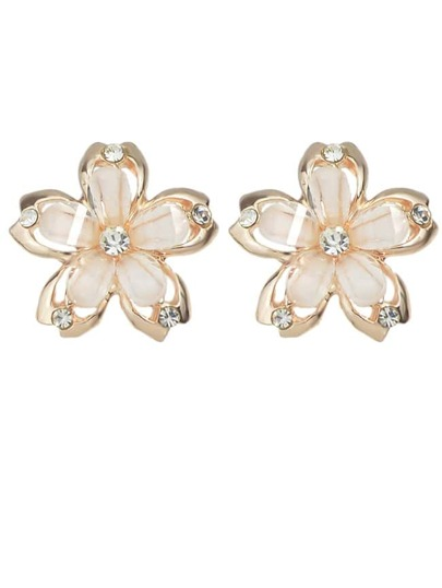 boucle d'oreille motif fleuri -blanc