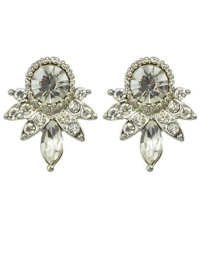 White Rhinestone Small Stud Earrings