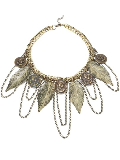 Bronze Feather And Portrait Logo Bib Necklace