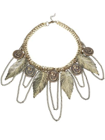 collier motif plume -marron