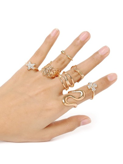 Flower And Star Lovely Stack Rings