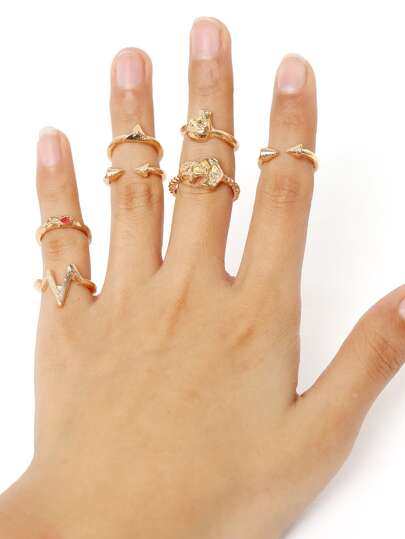 Skull And Rivet Punk Style Stack Rings