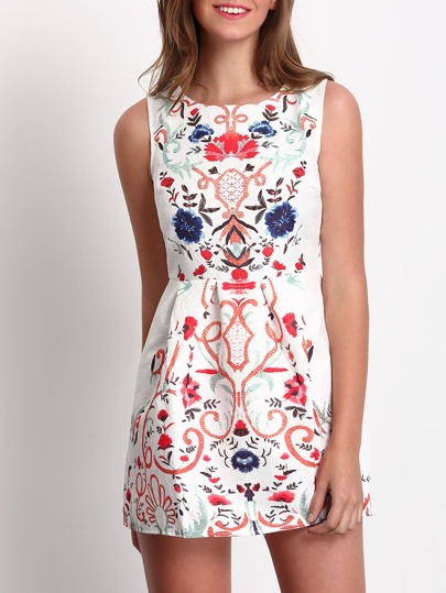 Multicolor Sleeveless Floral A Line Dress
