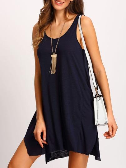 Royal Blue Sleeveless Shift Tank Dress