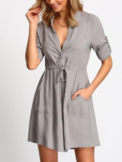 Grey V Neck Drawstring Waist Pockets Dress