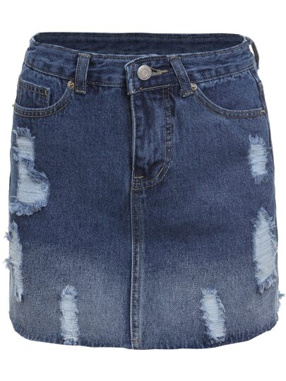 Blue Bleached Ripped Denim Skirt