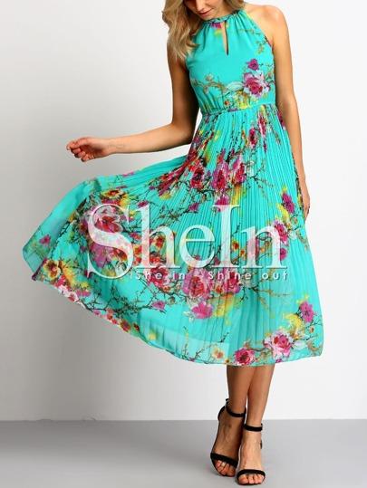 Green Halter Neck Keyhole Front Floral Print Dress