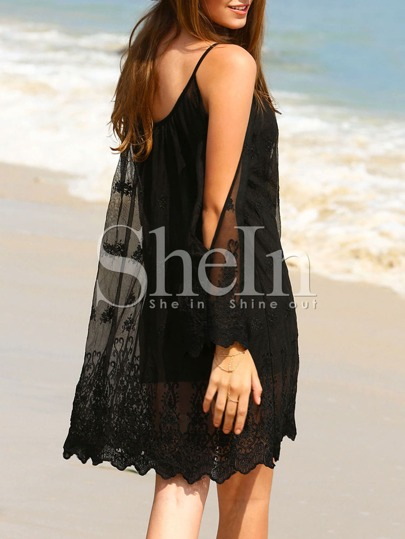 Black Split Long Sleeve Crochet Shift Dress