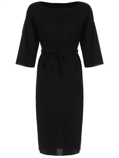 Elbow Sleeve Split Belt Dress