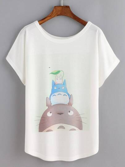 T-shirt imprimé cartoon manche courte -blanc