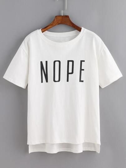 Dip Hem Lettere Stampa T-shirt