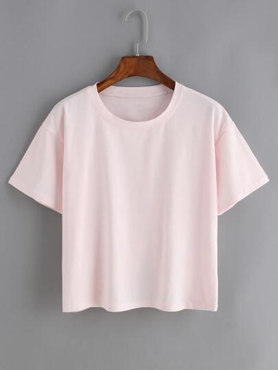 Crew Neck Pink T-shirt