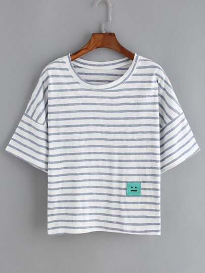 Dropped Shoulder Seam Striped Patch T-shirt
