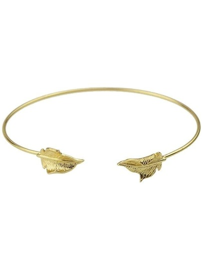 Gold Plated Leaf Cuff Bracelets