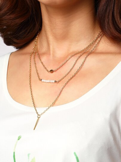Pearl Rhinestone Metal Bar Pendant Wrap Link Necklace