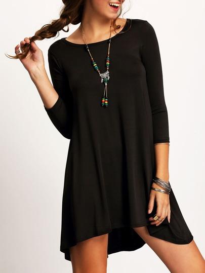 Vestido escote redondo asimétrico holgado -negro