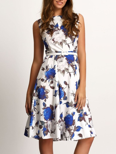 Blue White Round Neck Sleeveless Floral Dress
