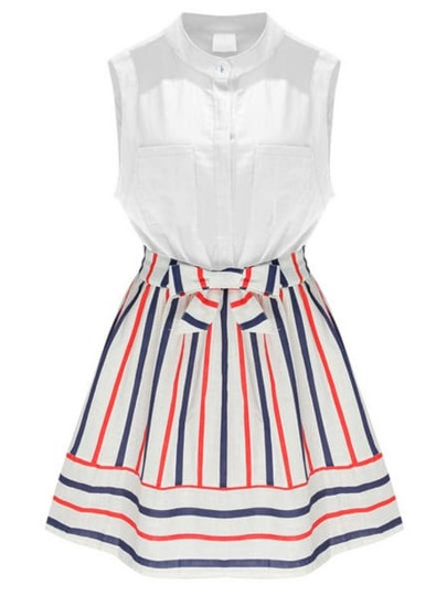 Multicolor Stand Collar Striped Bow Dress