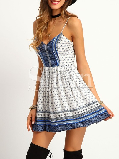 White Spaghetti Strap Crisscross Back Flare Dress