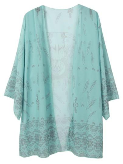 Green Tau Print Chiffon Kimono